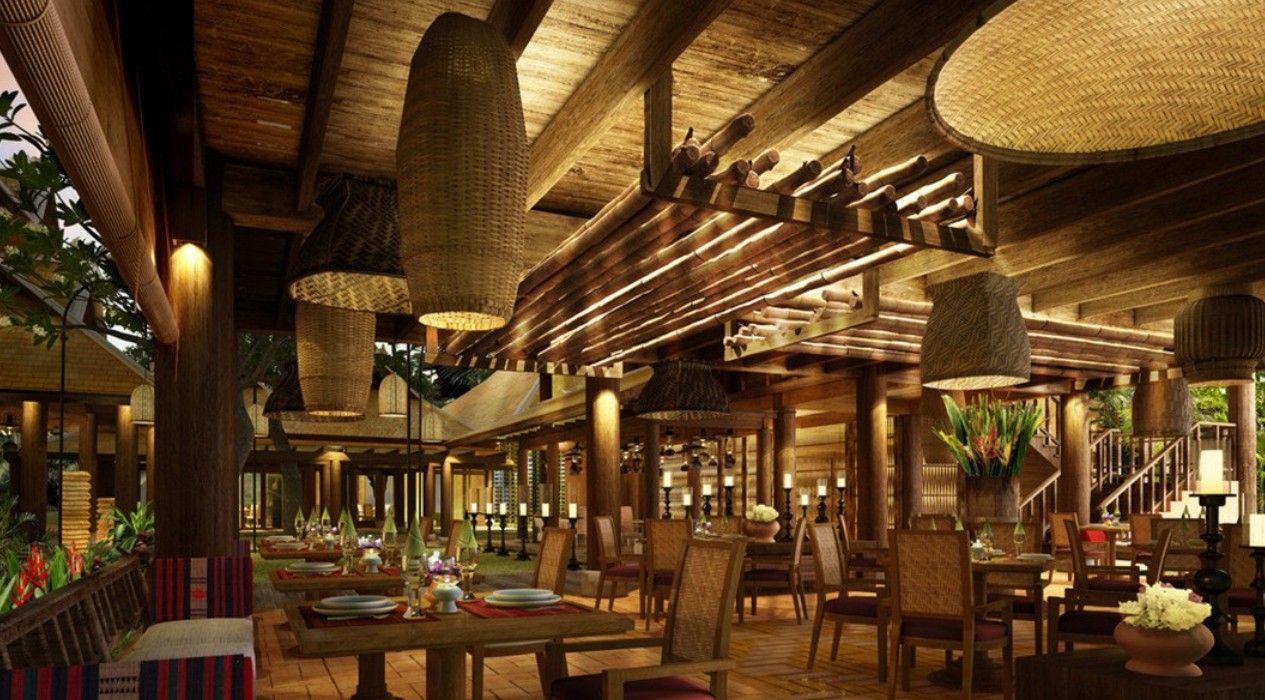Southeast Asian wood restaurant interior design rendering
