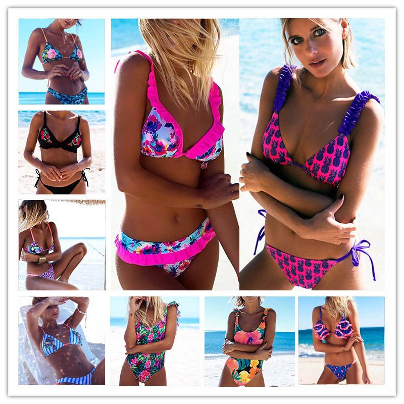 1993a16222185 comprar 2018 sexy bikinis mujeres traje de baño Halter Beach wear push up  trajes de baño de impresión traje de baño bikini brasileño femenino  conjunto S-XL