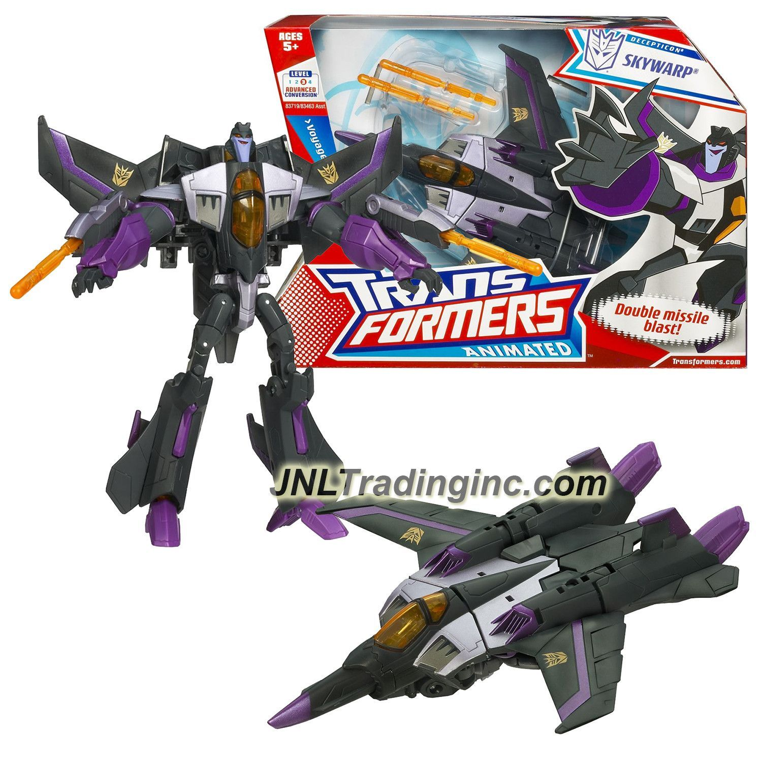 Hasbro Transformers Animated Series Voyager Class 7 Tall Figure Decepticon Fearful Super Pilot Skywarp With Missile Launchers Vehicle Mode Jet Hasbro Transformers Transformers Animation Series