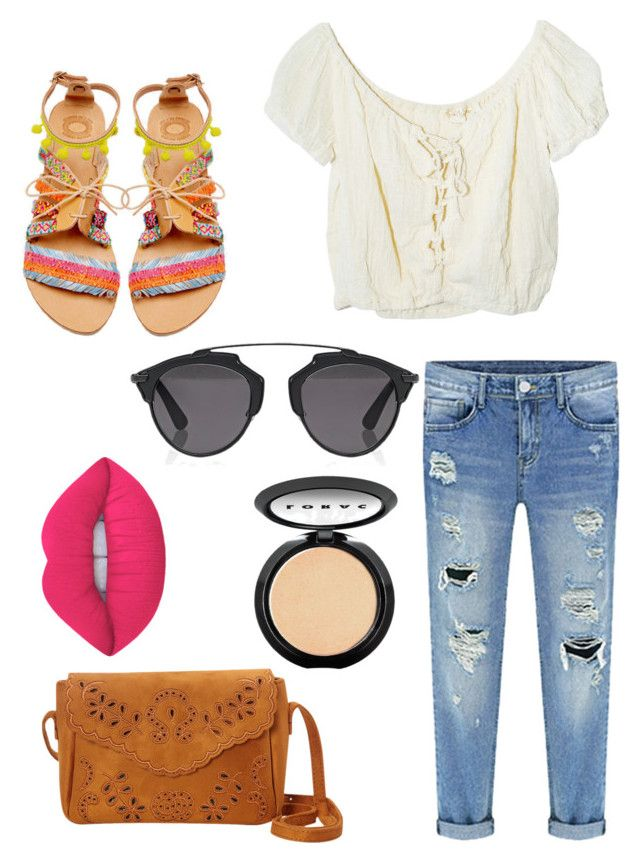 """""""Coachella"""" by isabellemorin015 on Polyvore featuring Elina Linardaki, Jens Pirate Booty, Christian Dior, LORAC and Lime Crime"""