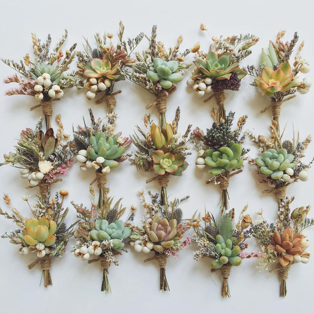 Dry Wedding Flowers: Today's Boutonnieres, Full Of Succulents, Dried Wild