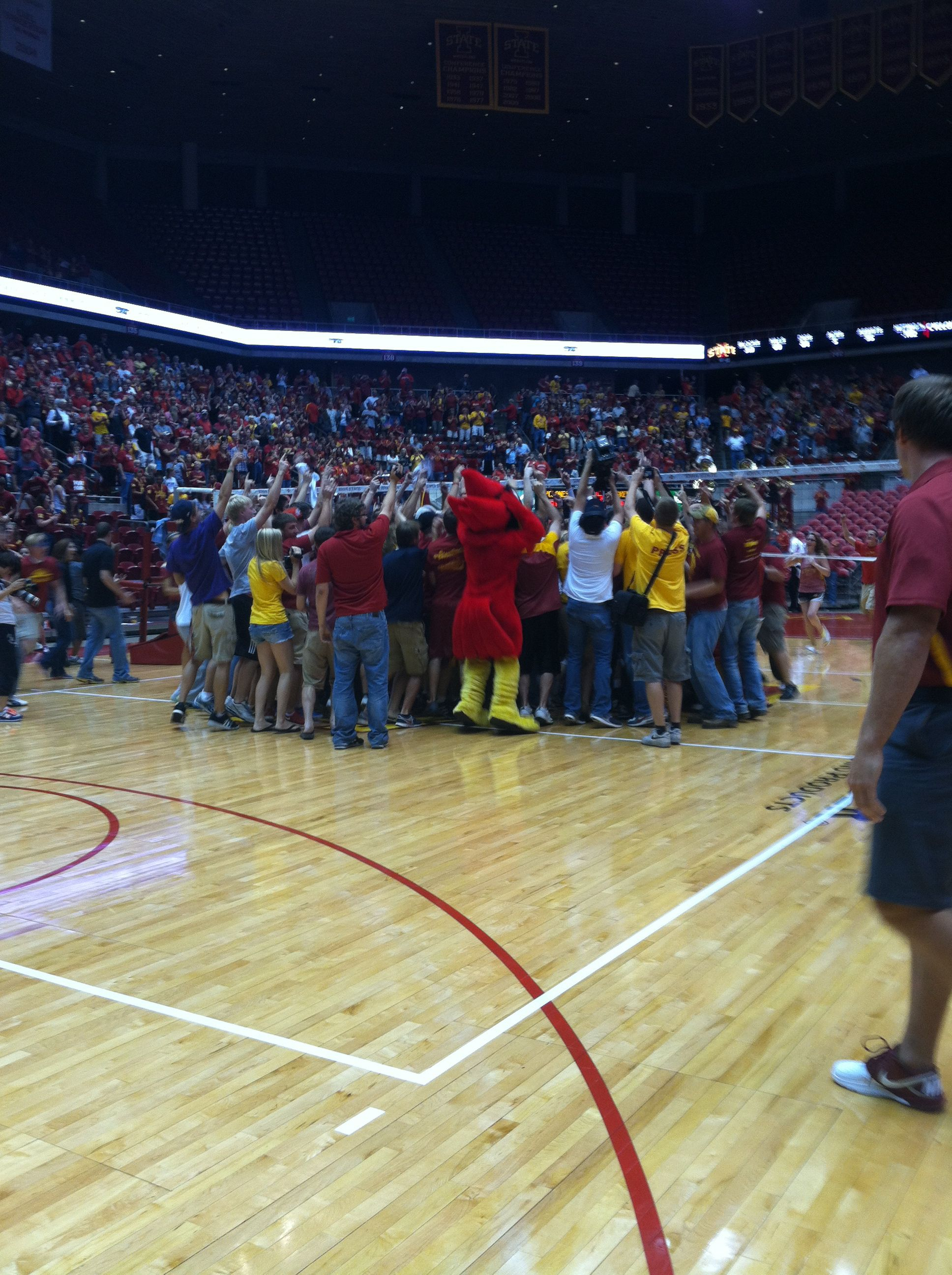 Fans Rush The Court After The Cyclone Volleyball Team Defeats 1 Nebraska 3 1 On September 15 2012 Iowa State Cyclones Iowa State Cyclone