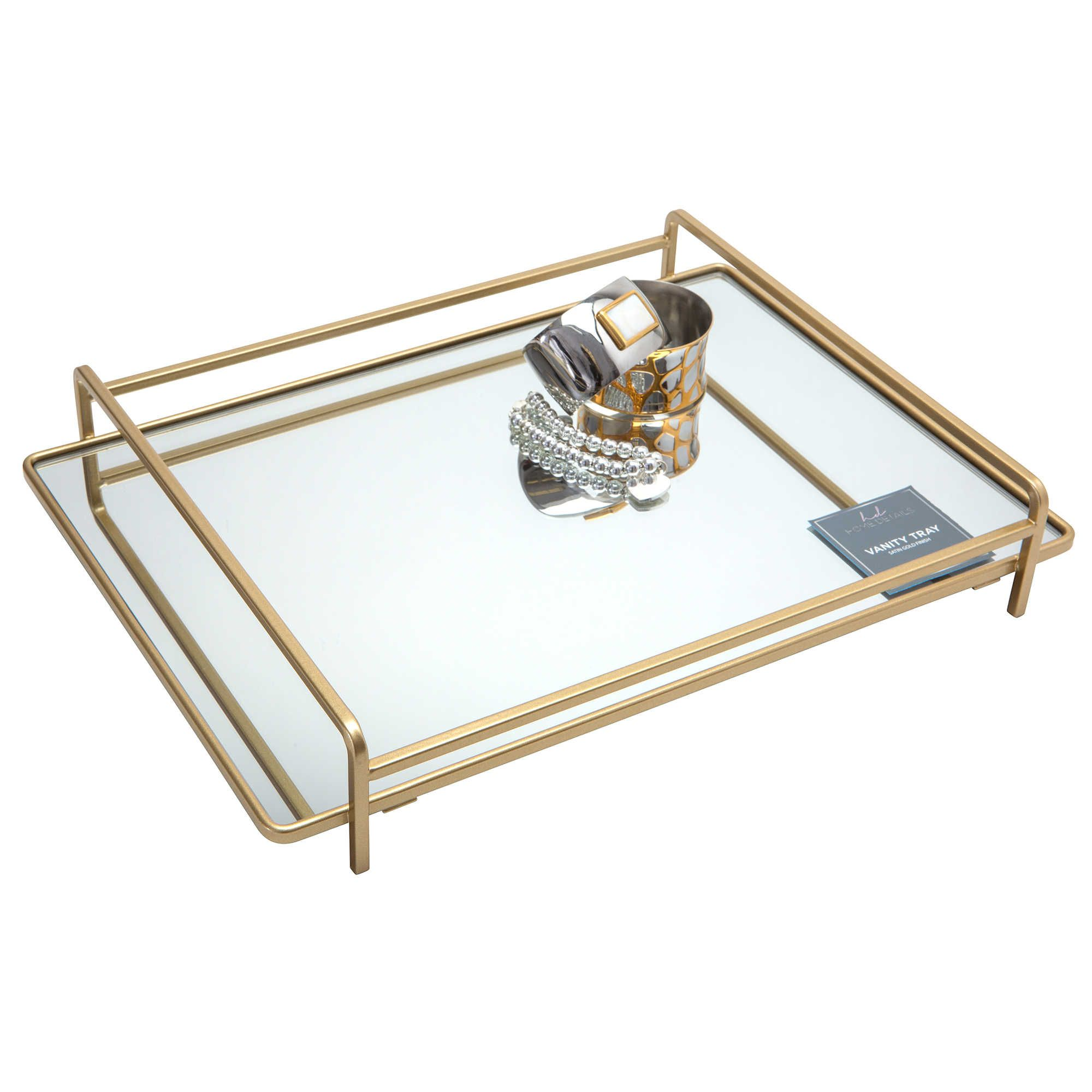 Home Details 4Rail Large Vanity Mirror Tray in Gold
