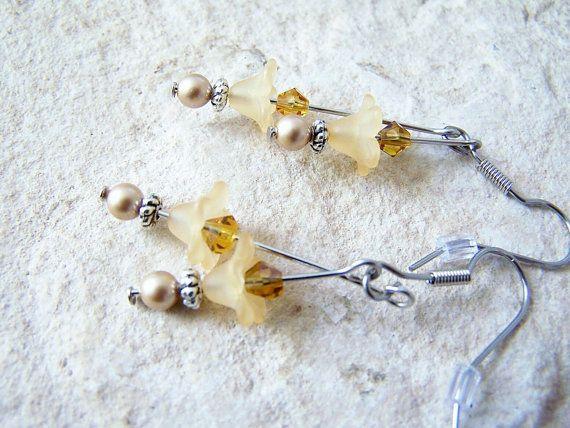 Golden Yellow Flower Earring Lucite Earring by FeralsPassageGifts