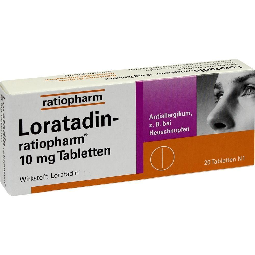 LORATADIN ratiopharm 10 mg Tabletten:   Packungsinhalt: 20 St Tabletten PZN: 00142740 Hersteller: ratiopharm GmbH Preis: 3,06 EUR inkl.…
