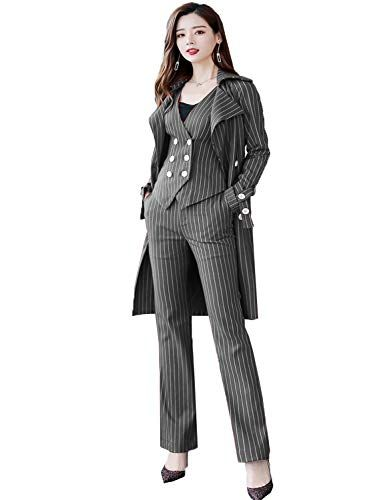 Damen 3-Piece Lange Anzüge Hosen und Jacke Weste Office Lady Business Blazer #officeoutfit