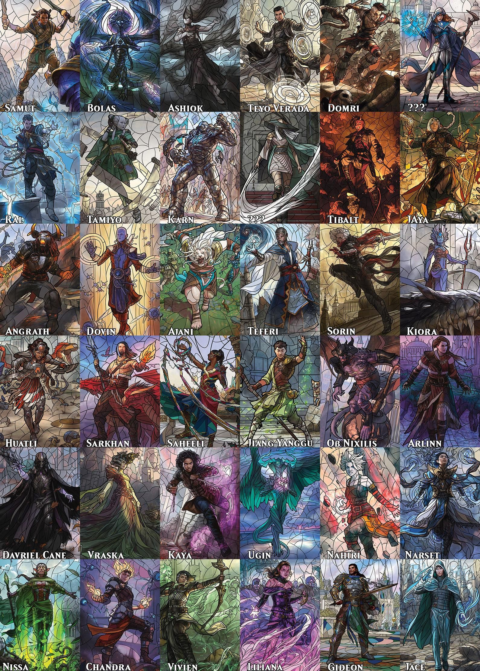 All 36 war planeswalkers in one image with names