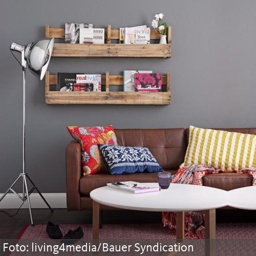 Wohnzimmer mit Regal aus Holzkisten Diy\/ vintage\/ deko\/ shabby - wohnzimmer deko shabby
