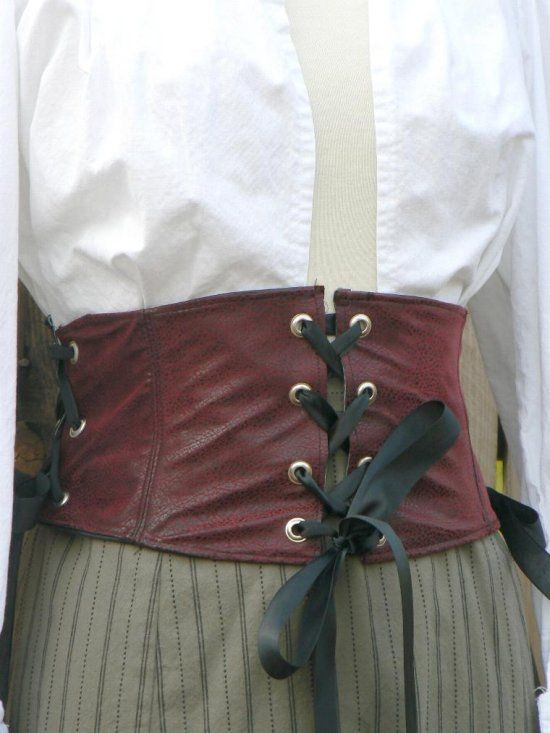 Faux Leather Waist Cincher Corselet Renaissance Pirate Corset Belt