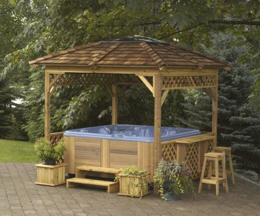 Covana And Visscher Gazebos From Tropical Pool Spa Hot Tub Gazebo Hot Tub Outdoor Wooden Gazebo