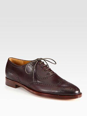 Ralph Lauren Collection Quintin Leather Lace-Up Oxfords