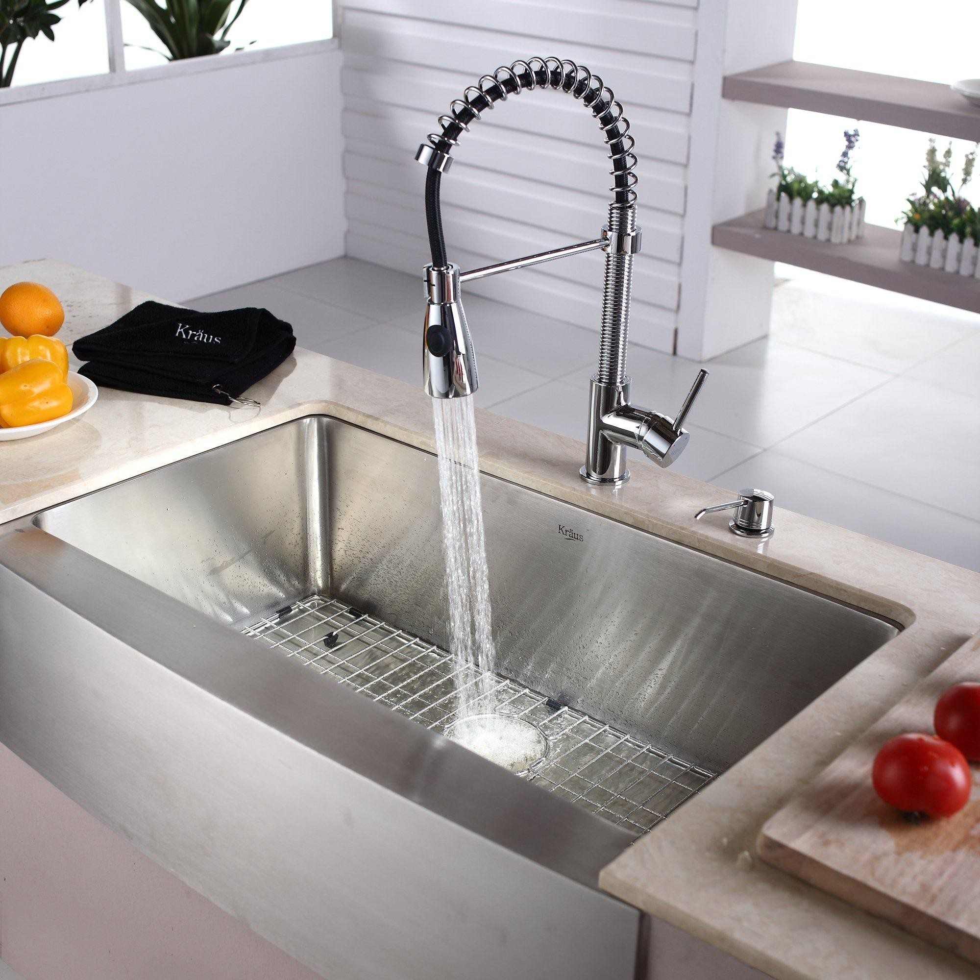 Kraus Kitchen Combo Series Khf20033kpf1612ksd30ch Stainless Steel Farmhouse Sink Farmhouse Sink Kitchen Kitchen Sink Faucets