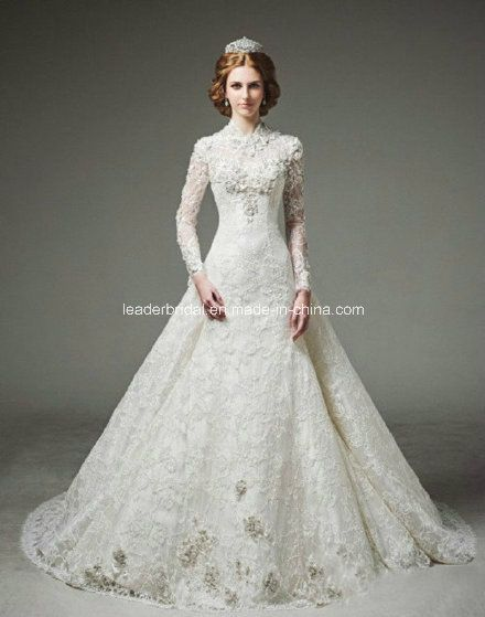 Lace high neck long sleeve wedding dress