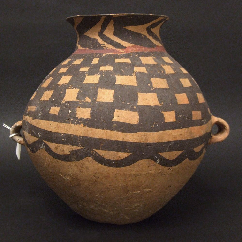 A Chinese Neolithic DoubleHandled Pottery Jar c.2300