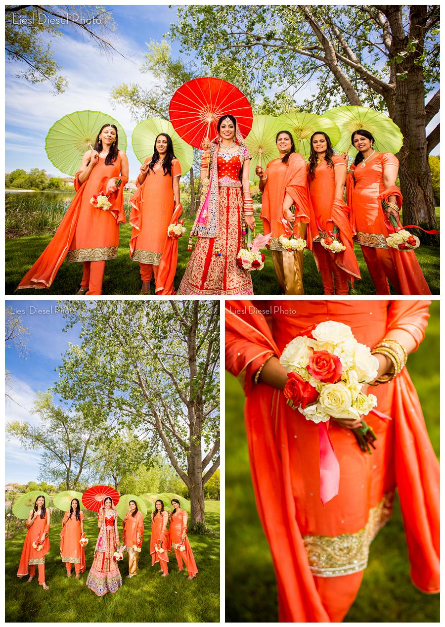 sikh indian wedding portrait bride bridal party parasols umbrellas green ocf off camera flash liesl diesel photo sari red coral gold