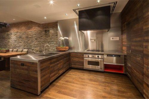 küche aus holz einrichtung esstisch holzboden landhausstil / wood ...
