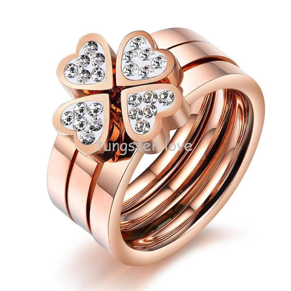 stackable rings for women   Unique Three Stackable Rings Rose Gold ...