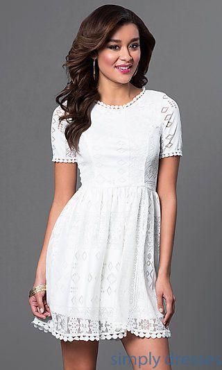 587451c47bf173 Short Sleeve Ivory Lace Dress | Grad Dresses | Dresses, Prom dresses ...