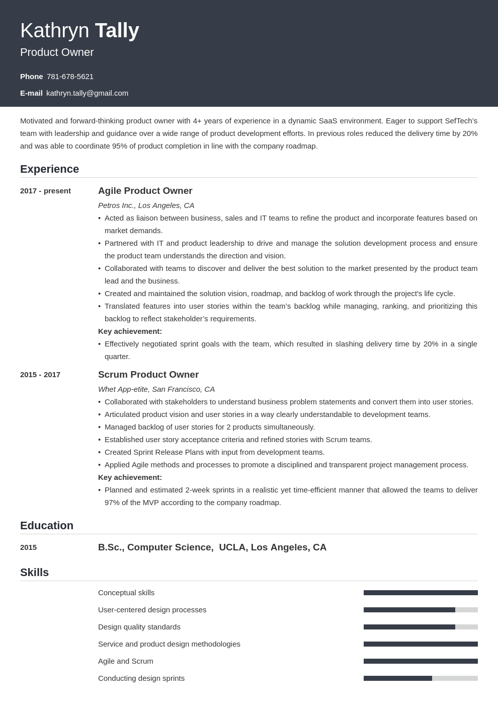 Product Owner Resume Example Template Influx Resume Examples Job Resume Examples Resume Layout