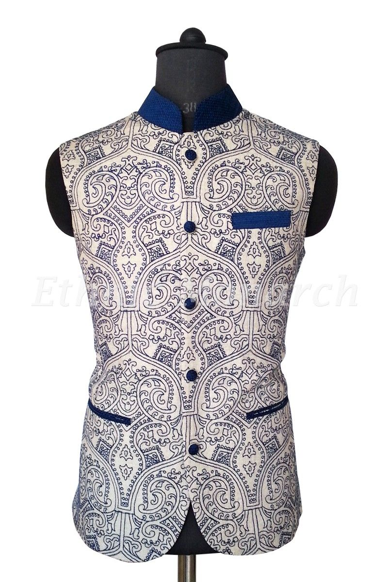 f1c76412ef Cream Embroidered Jacket | Jacketing | Mens traditional wear, Modi ...