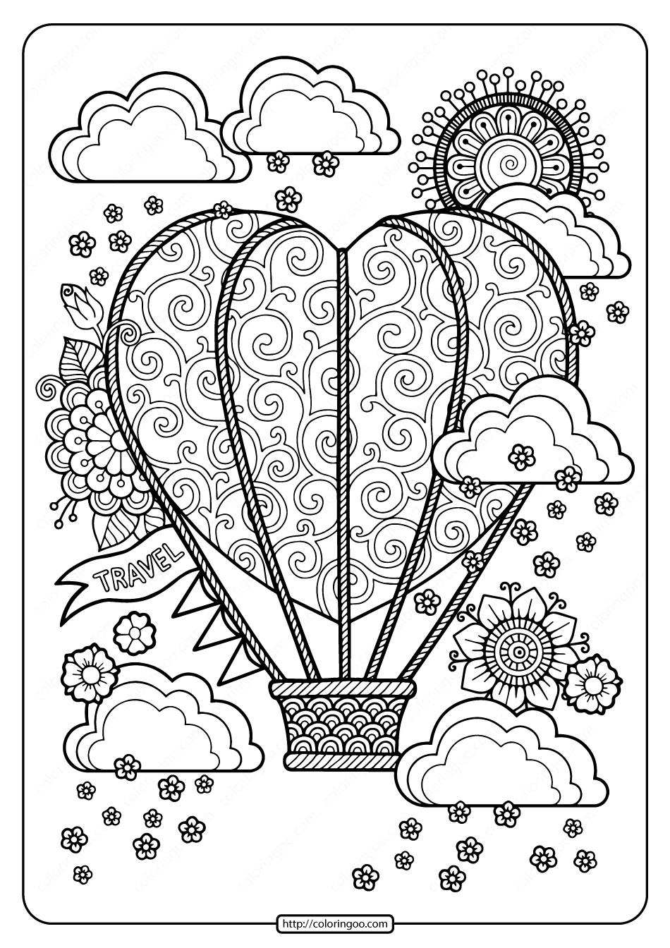 Free Heart Shaped Hot Air Balloon Pdf Coloring Page  Hot air