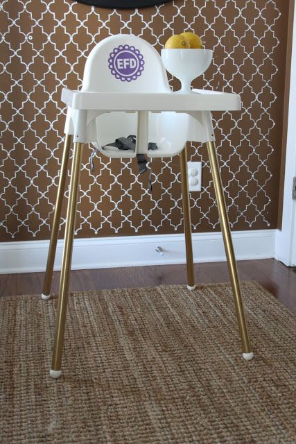 Ikea Highchair Hack Add Decal And Spray Paint Legs Gold Ikea High Chair Ikea Desk Chair Diy