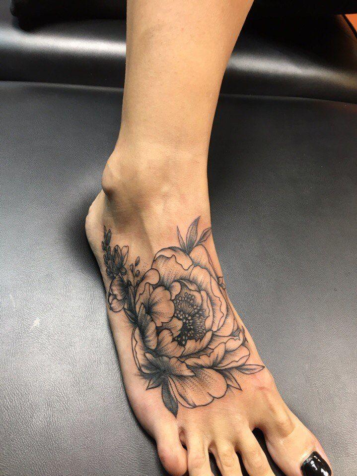 Tattoo цветы на ступне - tattoo's photo  In the style  Blackwork, Flowe (65933)
