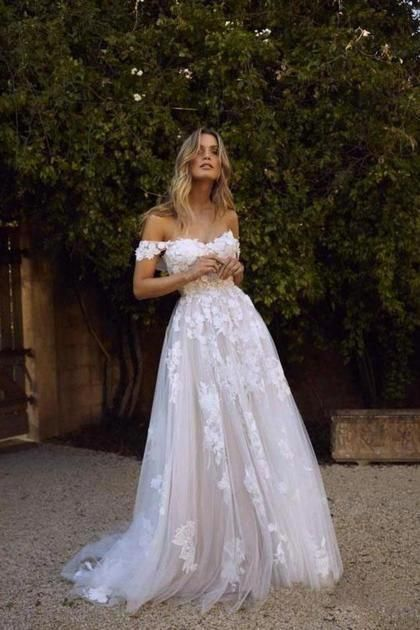 Photo of Simple A-Line Off The Shoulder White Beach Wedding Dresses US$ 219.99 VPPCCLLY7M – dresses-vip.co.uk