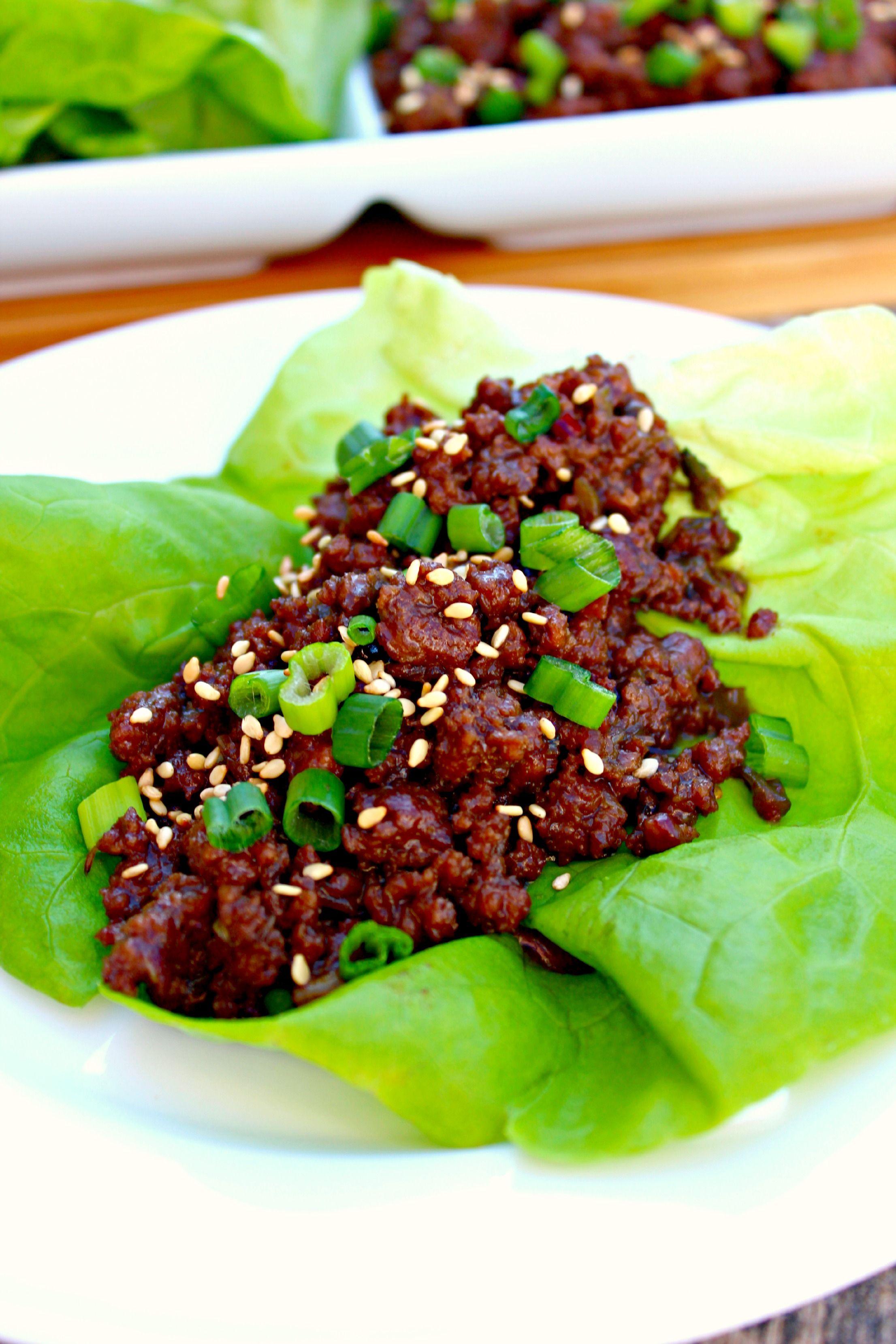 Korean Beef Lettuce Wraps Lettuce Wrap Recipes Spiced Beef Beef Lettuce Wraps
