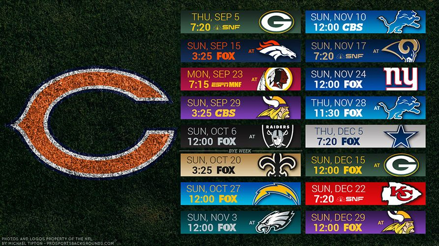 Chicago Bears 2019 Desktop PC Field NFL Schedule Wallpaper