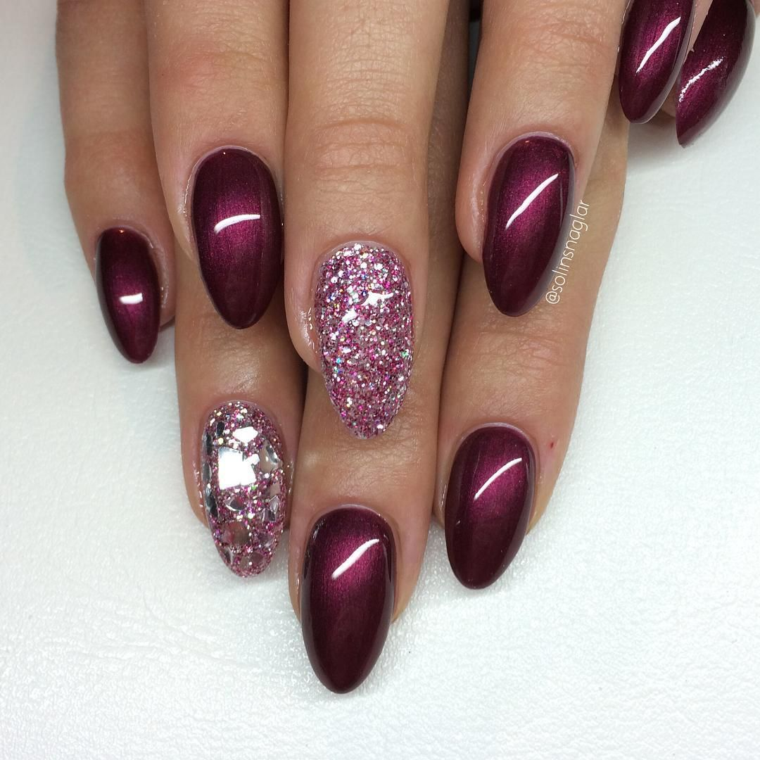 26 Red And Silver Glitter Nail Art Designs Ideas: Black Cherry + Berry & Silver Mixed Glitter + Silver Mylar