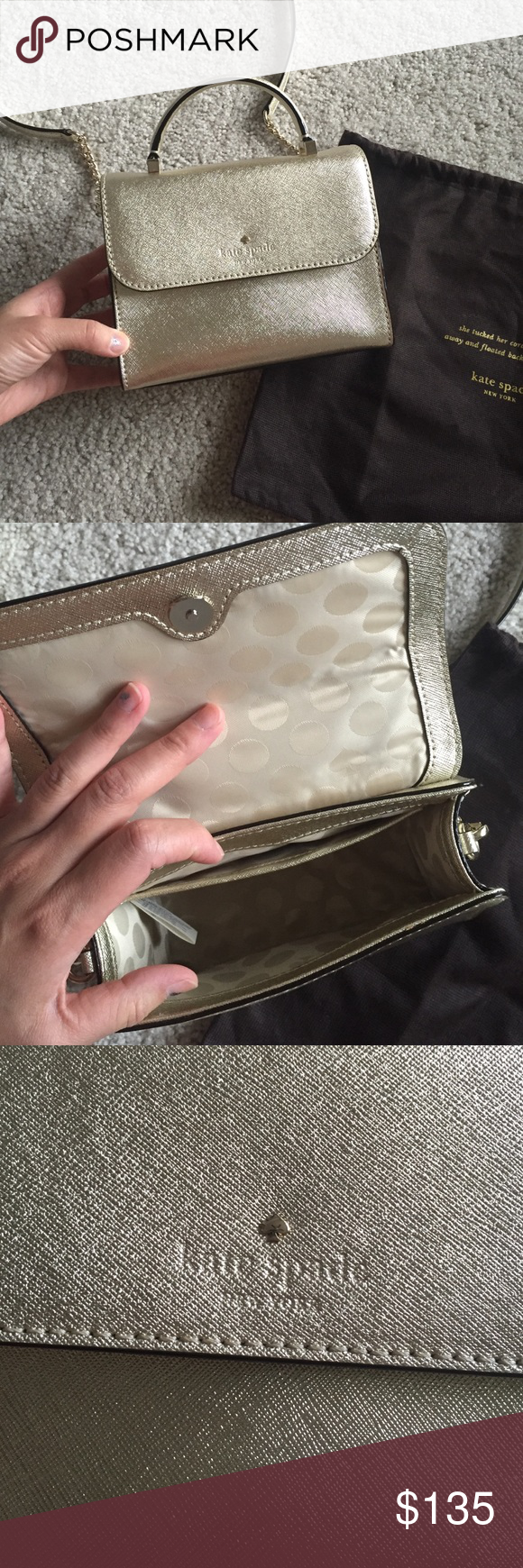 """Kate spade small purse Never used Nwot. Authentic Kate spade. Dust bag included. Removable shoulder strap. Has 1 interior pocket. Gold shimmery Saffiano leather. In perfect new condition. 7*6*3"""". Crossbody strap 22"""". No trade. kate spade Bags Crossbody Bags"""