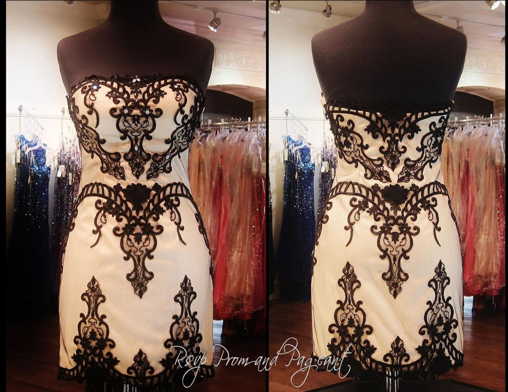 114EP038160 BLACK/NUDE LACE HOMECOMING DRESS