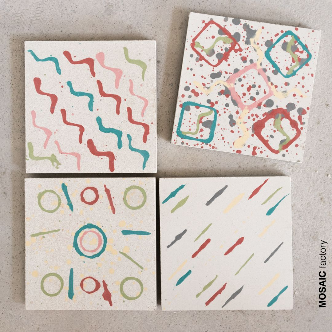 Multi coloured cement tiles with bespoke artistic patterns ...