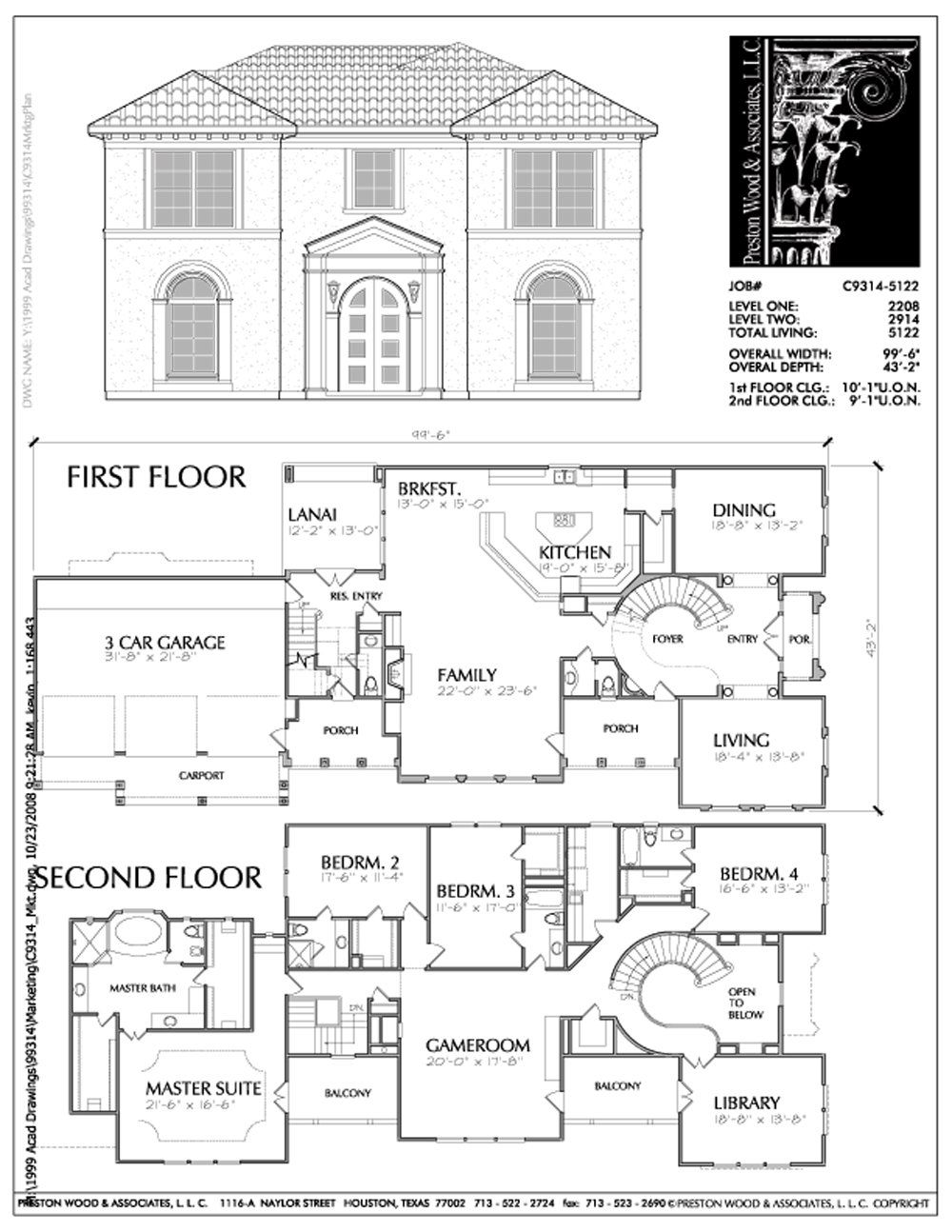 Two Story Urban House Plan C9314 House Plans House Plans 2 Story How To Plan