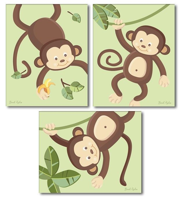 Monkey Prints for Nursery, Monkeys Wall Art Nursery Wall Decor Art ...