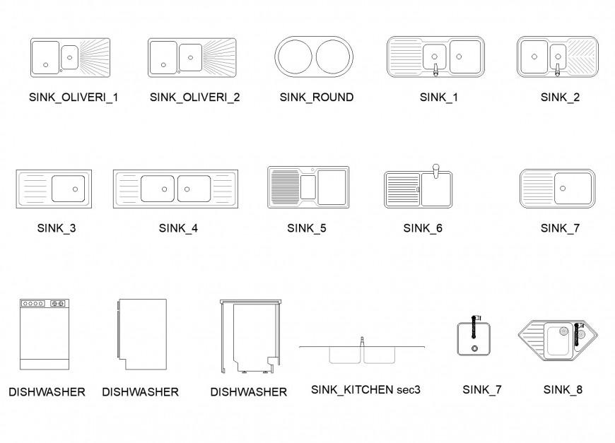 Drop In Kitchen Sinks And Dishwasher Plan Layout File Cadbull In 2021 Drop In Kitchen Sink Simple Kitchen Design Floor Plan Design