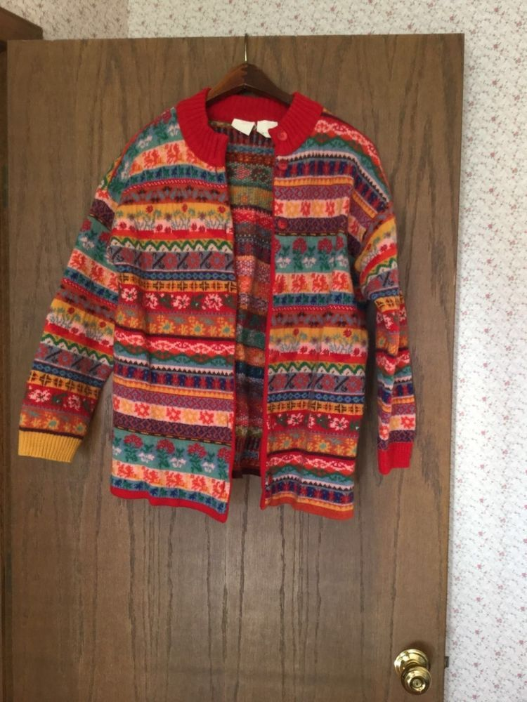 Women's Oilily Fair Isle Cardigan Sweater Size XL Made in Italy ...