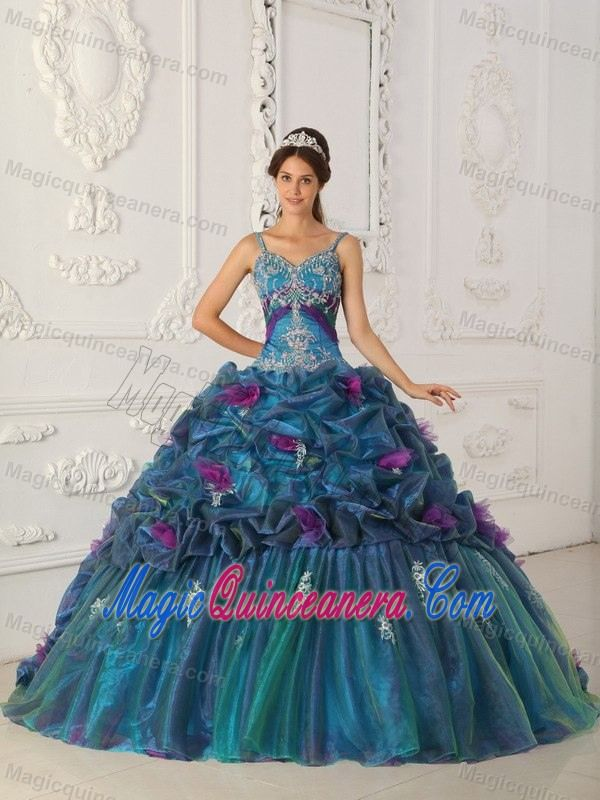 Straps Colorful Appliqued Dresses for A Quince in Puerto Rico ...
