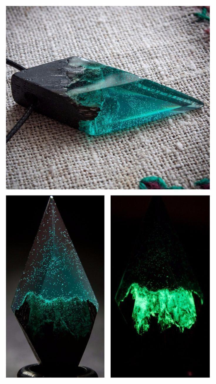 Photo of Luminous aquamarine resin wood necklace, geometric minimalist jewelry, …