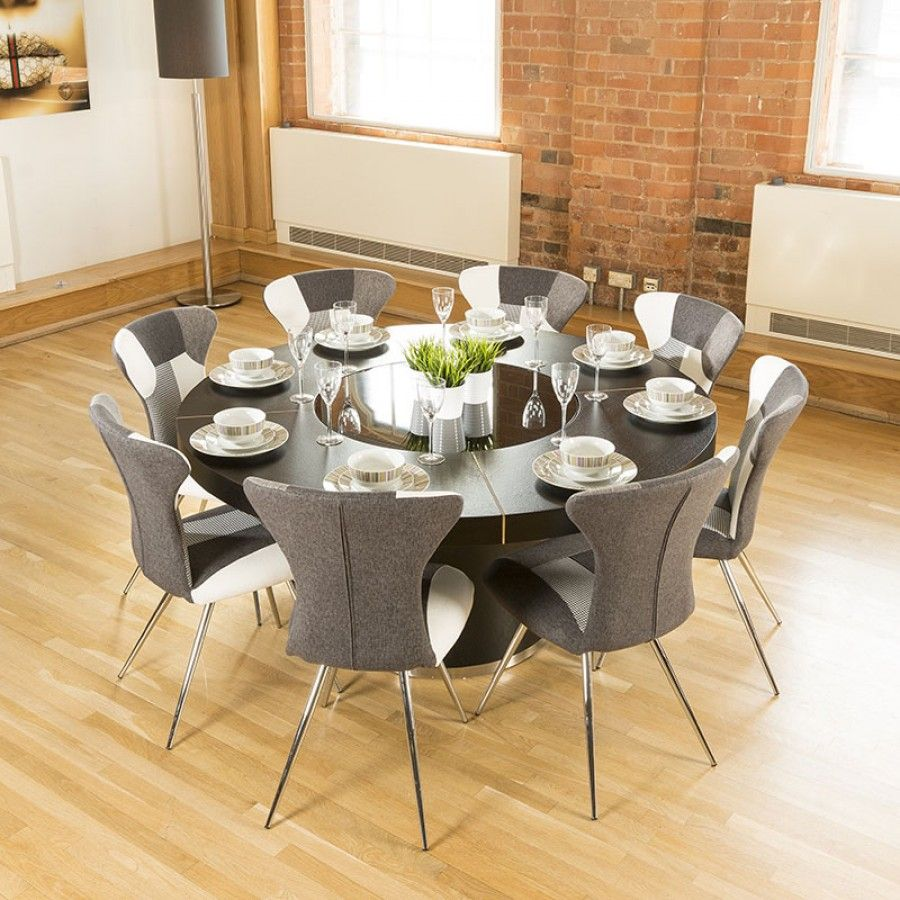 Luxury Large Round Black Oak Dining Table Lazy Susan 8 Chairs 4173