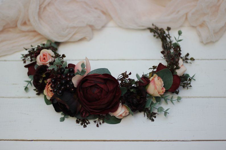 Pink /& Purple Flowers Floral Halo Wreath Tiara Headband Headpiece Bun Crown Size Large