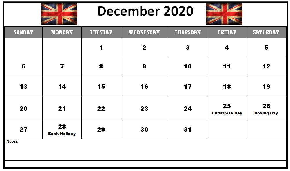 December 2020 Calendar With Holidays Uk In 2020 Holiday Calendar Uk Holiday Calendar Calendar