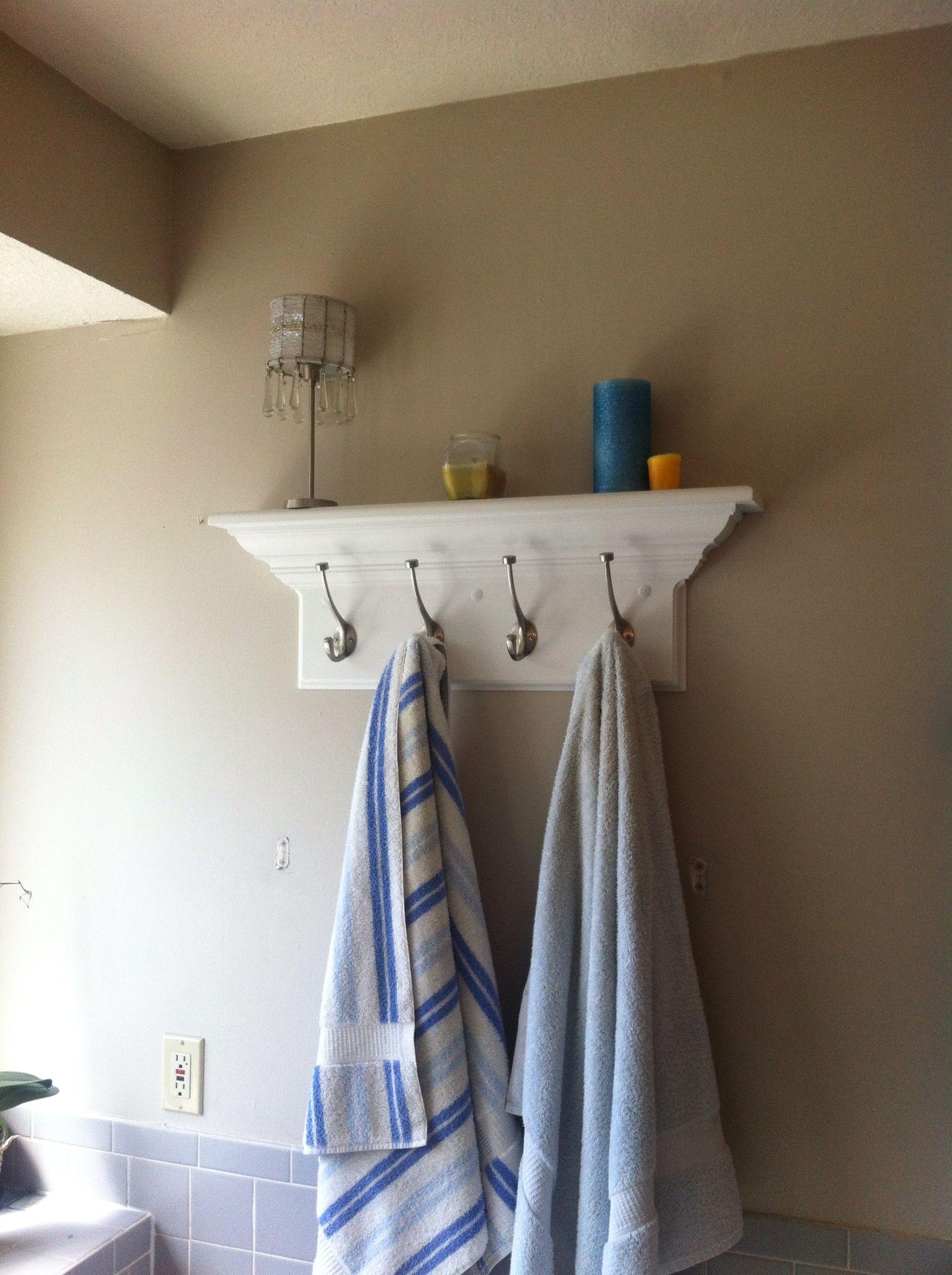 Bathroom shelf with towel hooks to replace an ugly towel rack ...