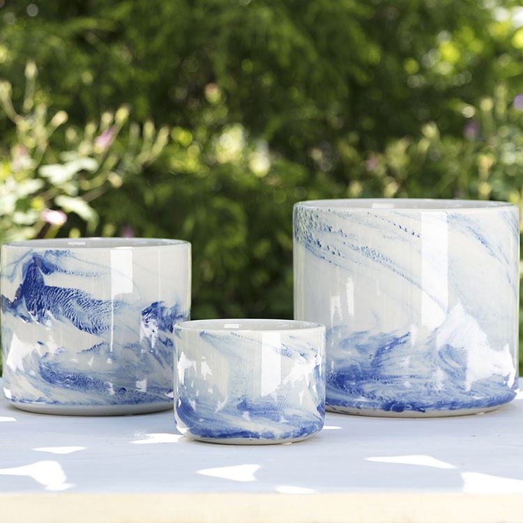 These Willow Planters Feature An On Trend Blue And White Marbleized Finish They Are The Perfect Way To Incorporate The Look Of Marble In A New And Graphic Way