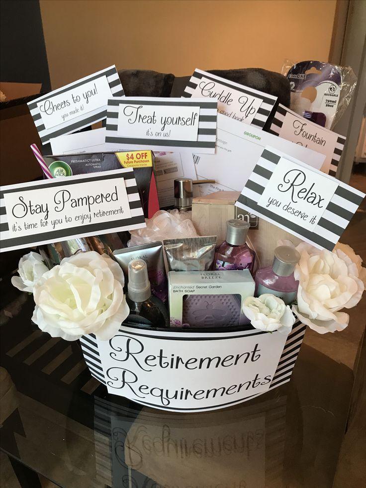 Retirement Requirements Basket In 2020 Retirement Party Gifts Retirement Gift Basket Retirement Party Decorations