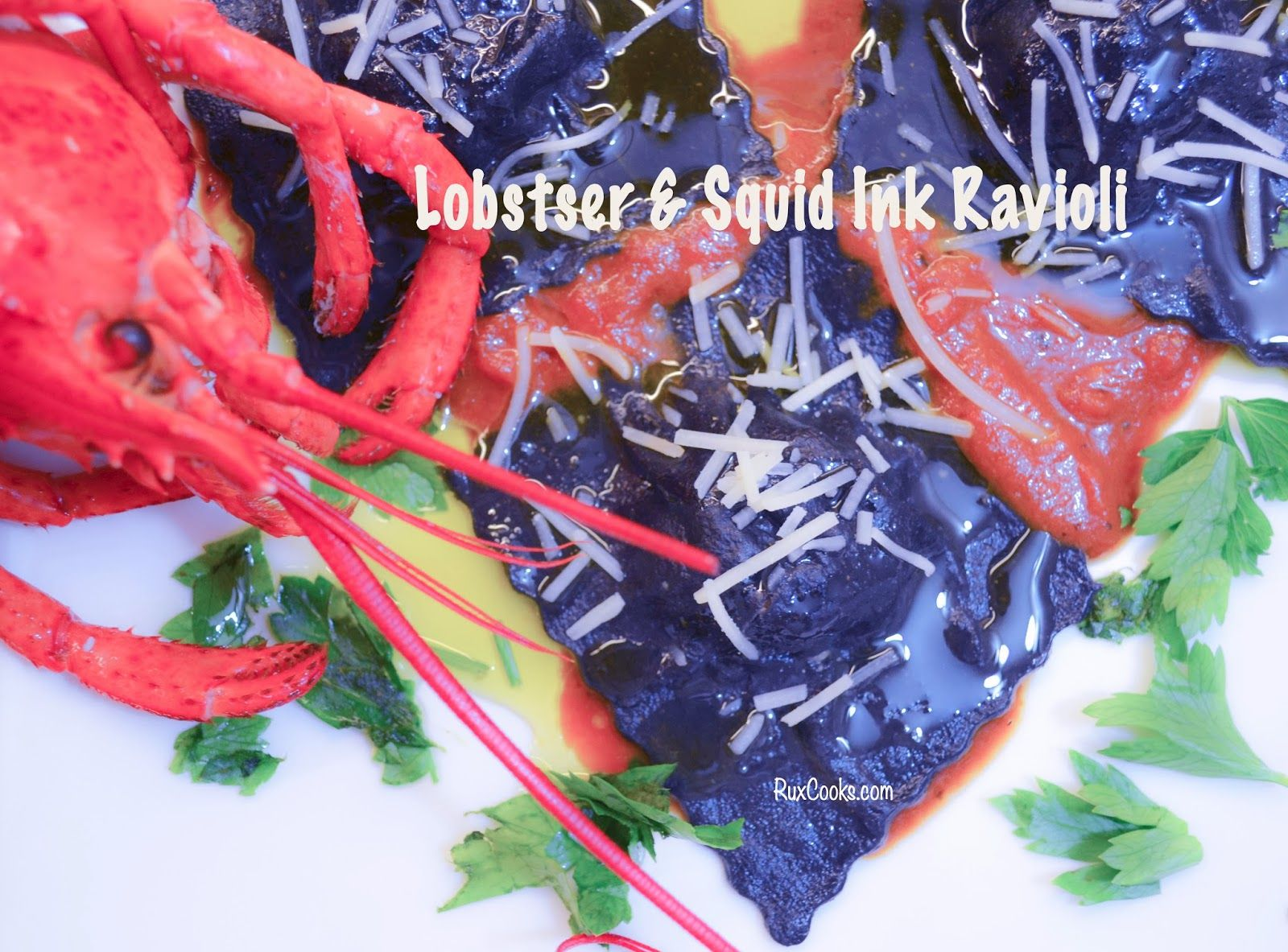Lobster Stuffed Squid Ink Ravioli ...