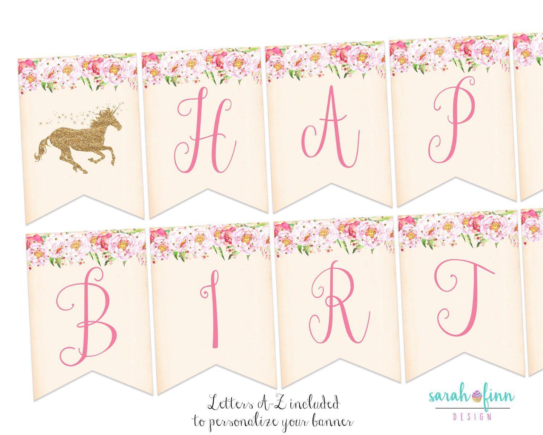 unicorn banner unicorn birthday party decorations happy birthday