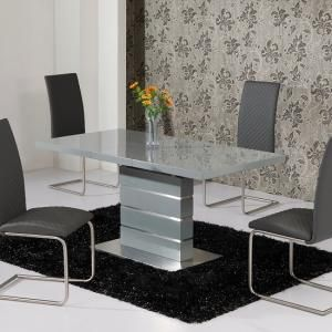 Parini Extendable Dining Table Rectangular In Grey Gloss Ebay Set Round