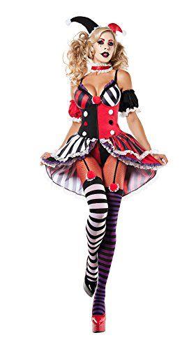 Harley Quinn Costume Adult Female Super Villain Halloween Fancy Dress